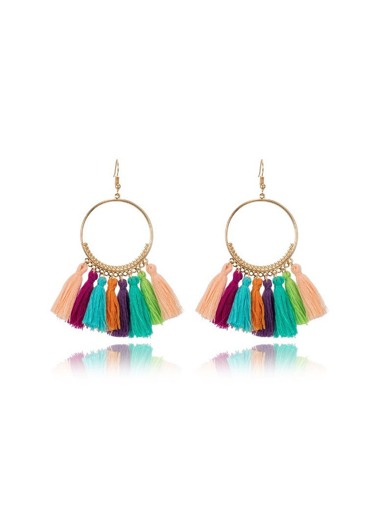 Multi Color Tassel Earring