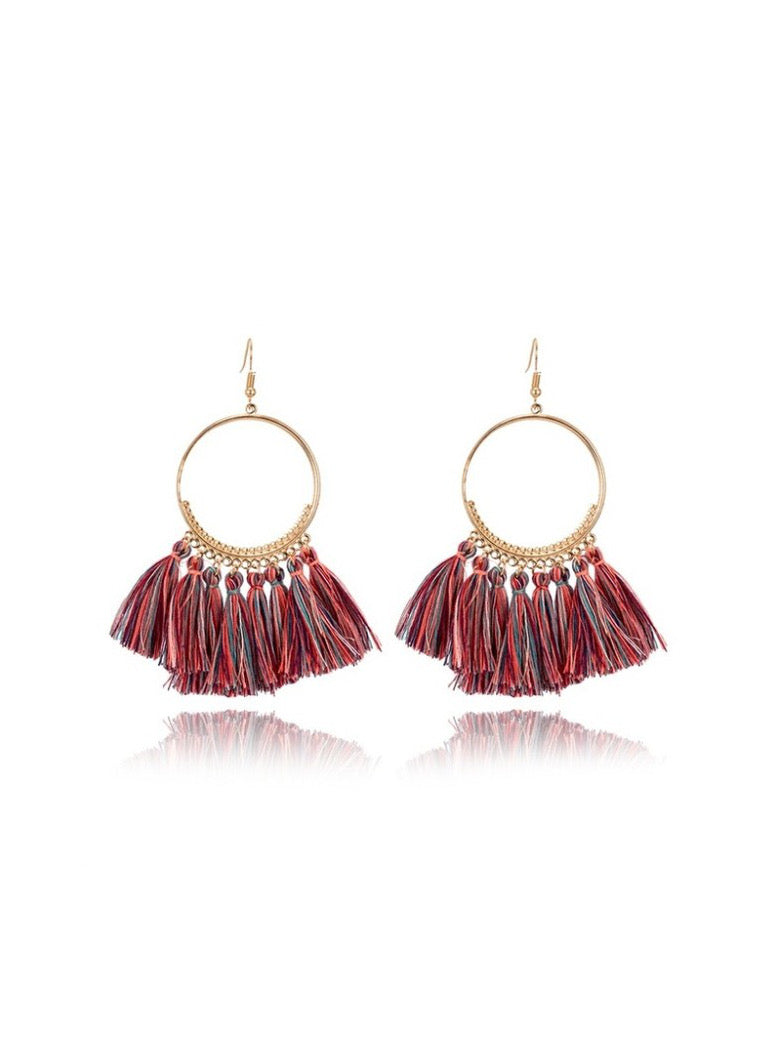 Red Multi Tassel Earring