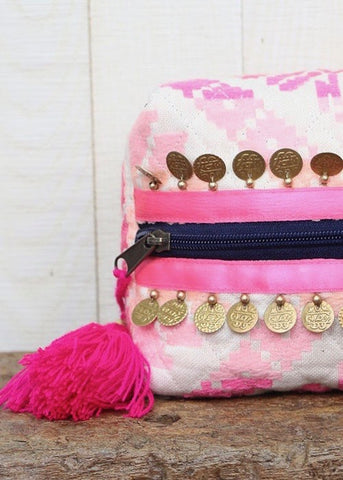 Pink Tassel Oragami Make-Up Bag