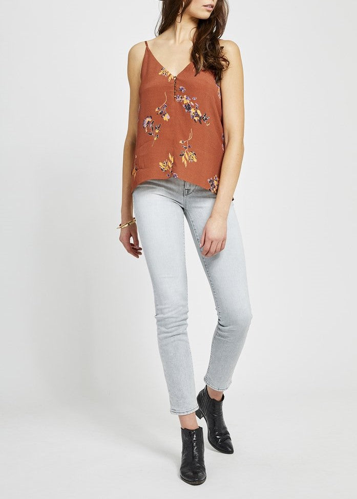 Burnt orange tank, floral tank, fall tank, tank top, women's tank top, gentle fawn, gameday tank, texas burnt orange tank
