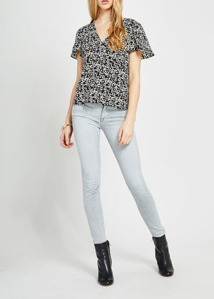 black and white printed top, animal printed top, animal print blouse, blouses, tops, fashion, fashion blog, blogger, spotted dot print top, gentle fawn, fall 2019 fashion