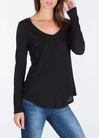 Long Sleeve Modal Pocket Tee