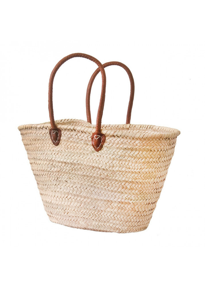Leather Handle Basket - Hand Painted Monogram Available