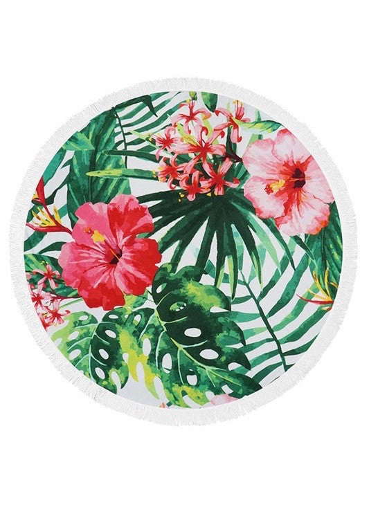Tropical Flowers Terry Cloth Beach Towel
