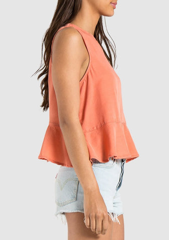 Button Back Peplum Tank
