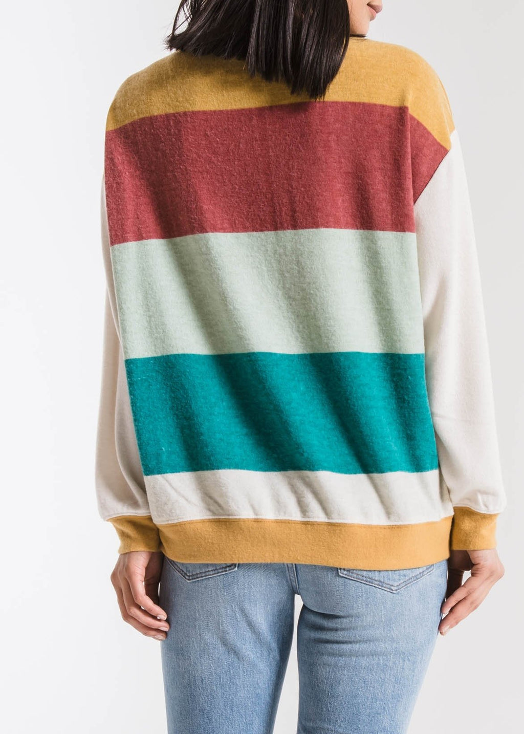 the bold stripe long-sleeve crew