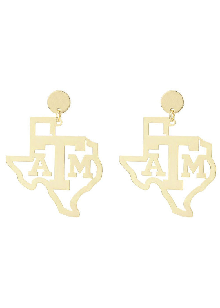 Texas A&M State Drop Earring