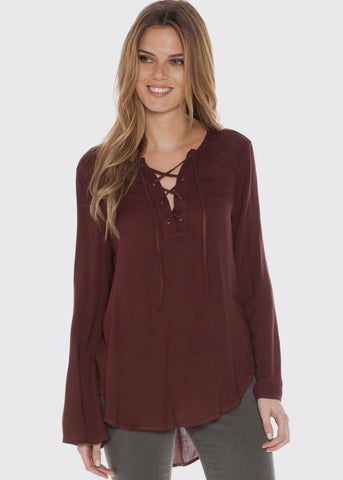 Bell Sleeve Lace Up Shirt