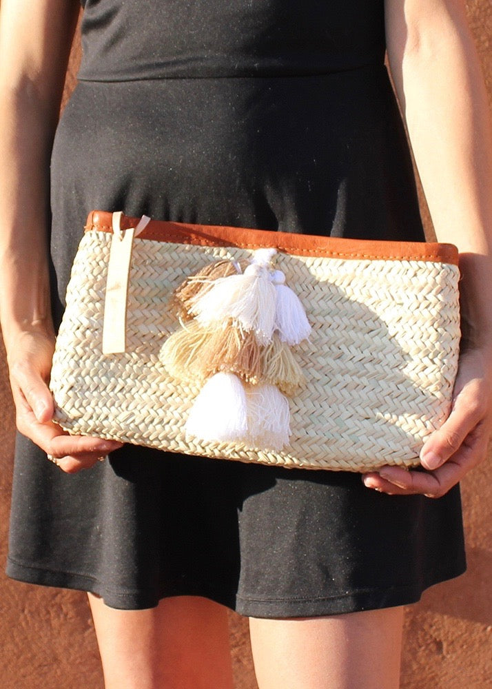 Tan Tassel Straw Clutch