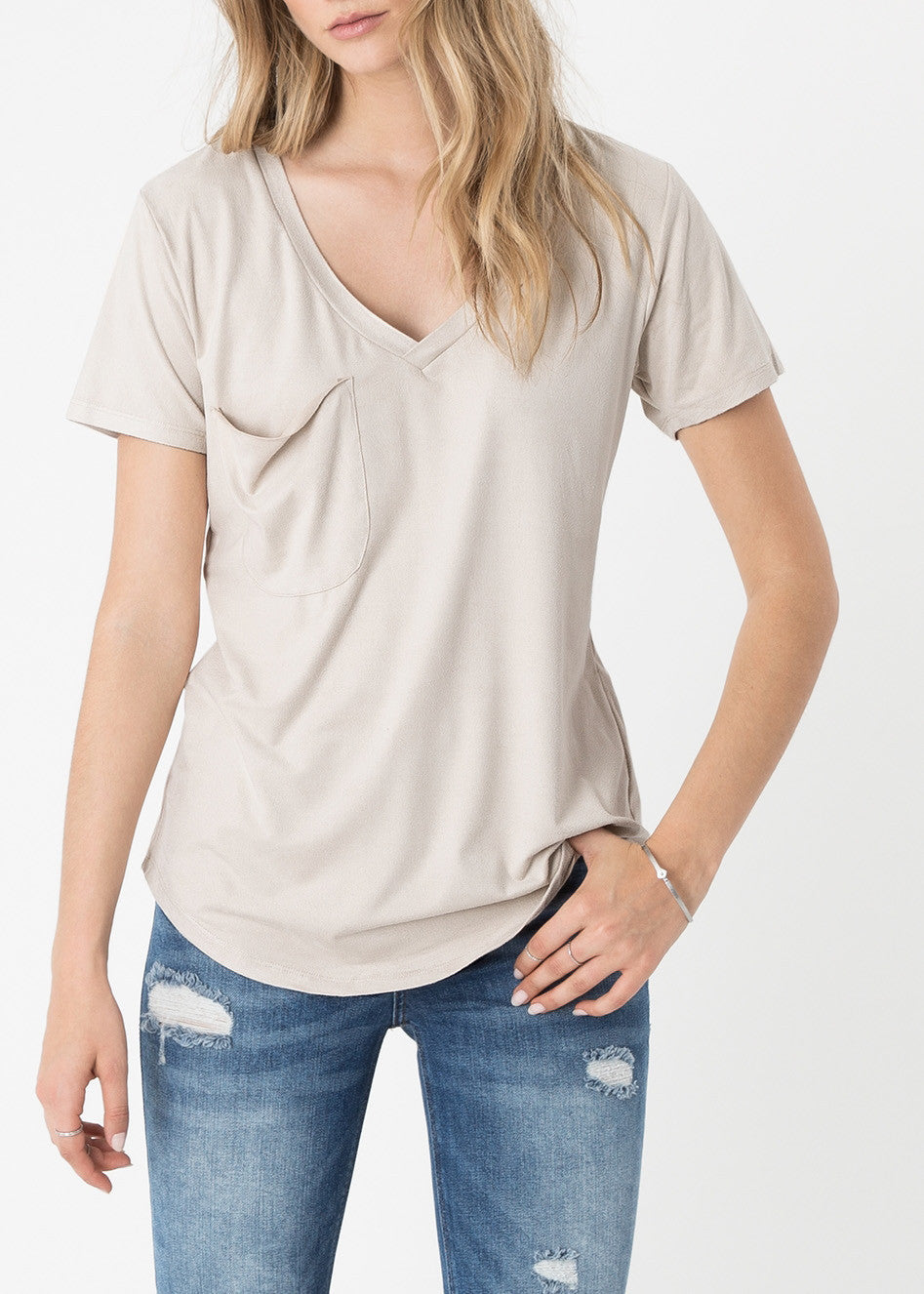 The Suede Pocket Tee - Ivory