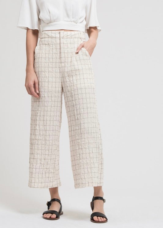 Crinkled Check Pants