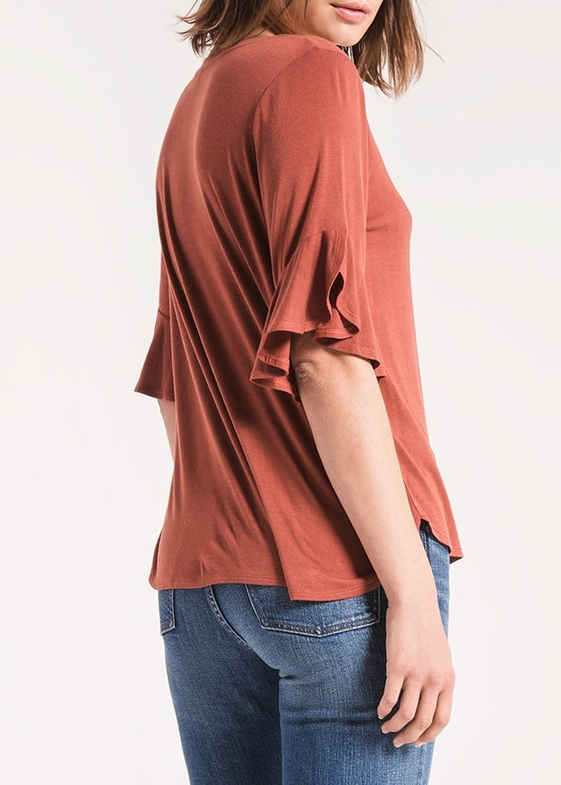 The Sleek Jersey Ruffle Tee