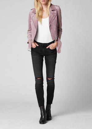 Cropped Suede Moto Jacket