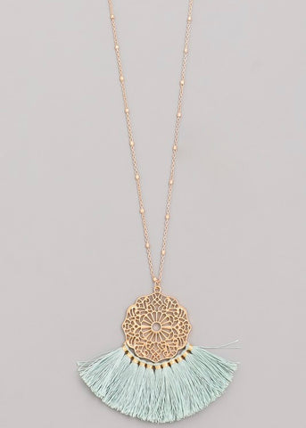 Tassel Fan Pendant Necklace