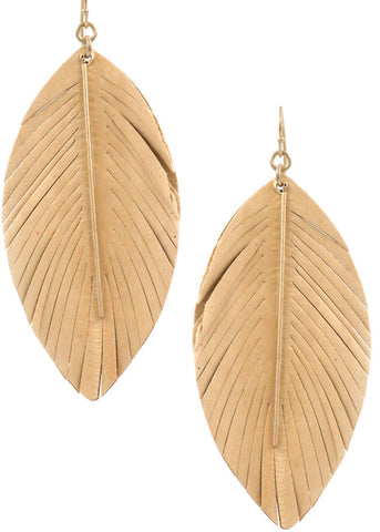Feather + Metal Earring