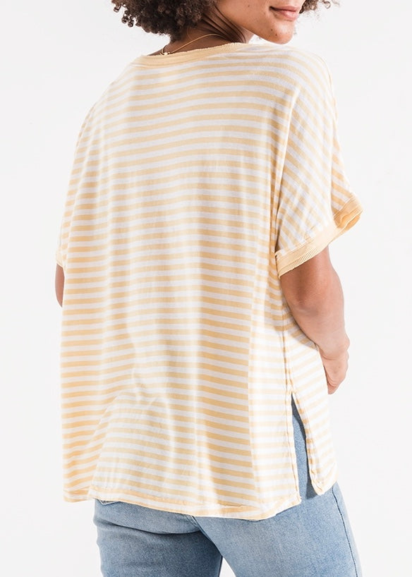 The Stripe Boyfriend V-Neck Tee