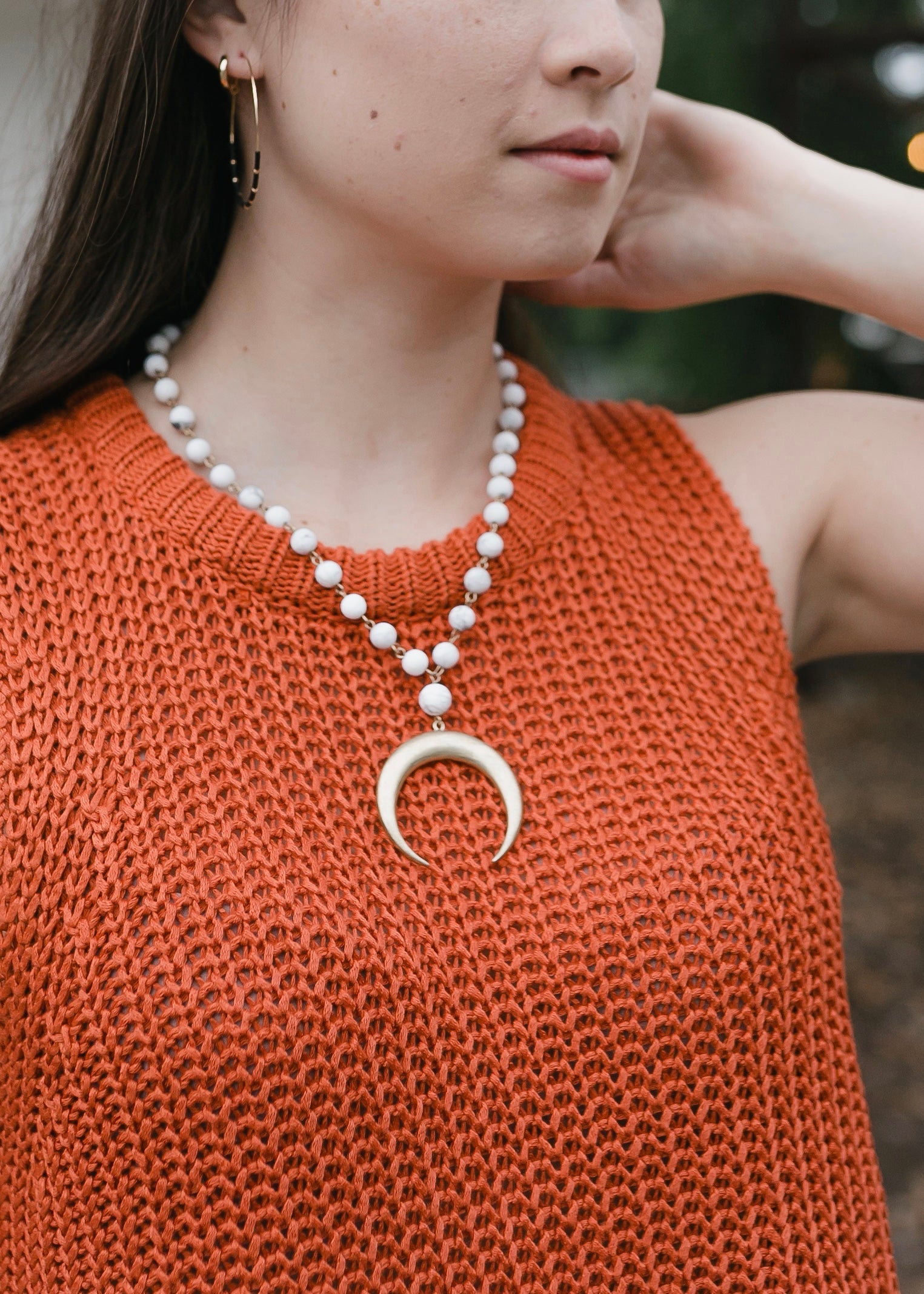 Hammered Crescent Necklace