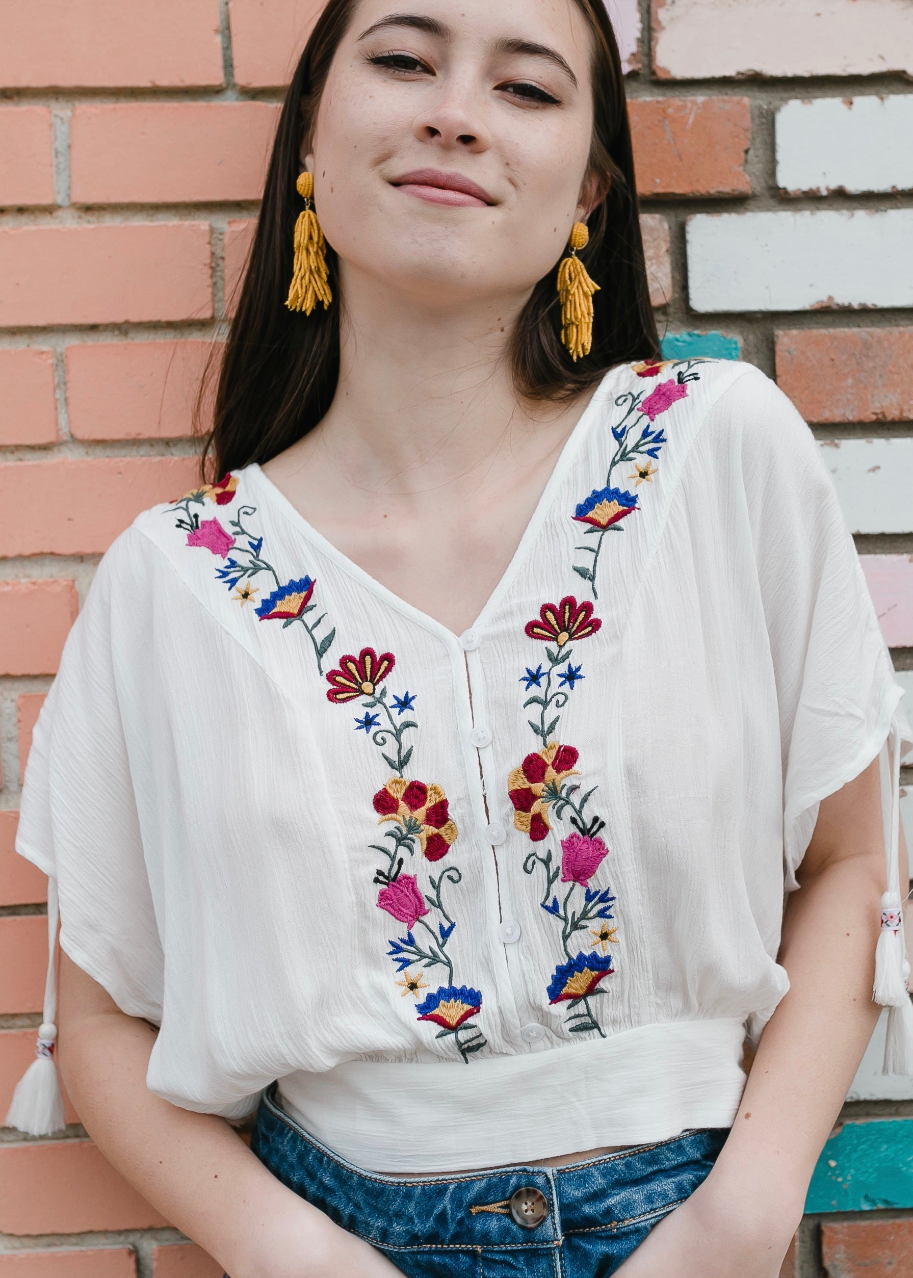 Puerto Rico Embroidered Crop