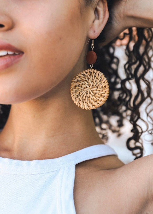 Full Moon Rattan Earring