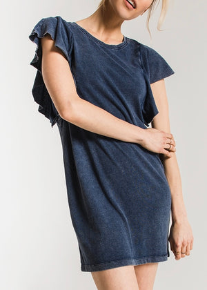 The Jersey Denim Ruffle Dress