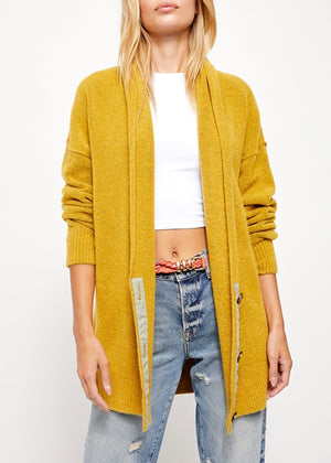 free people cardi, mustard cardigan, sweater