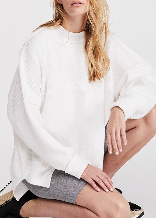 white sweater, free people sweater, free people, fall style, white, tunic, women's clothing, women's sweaters