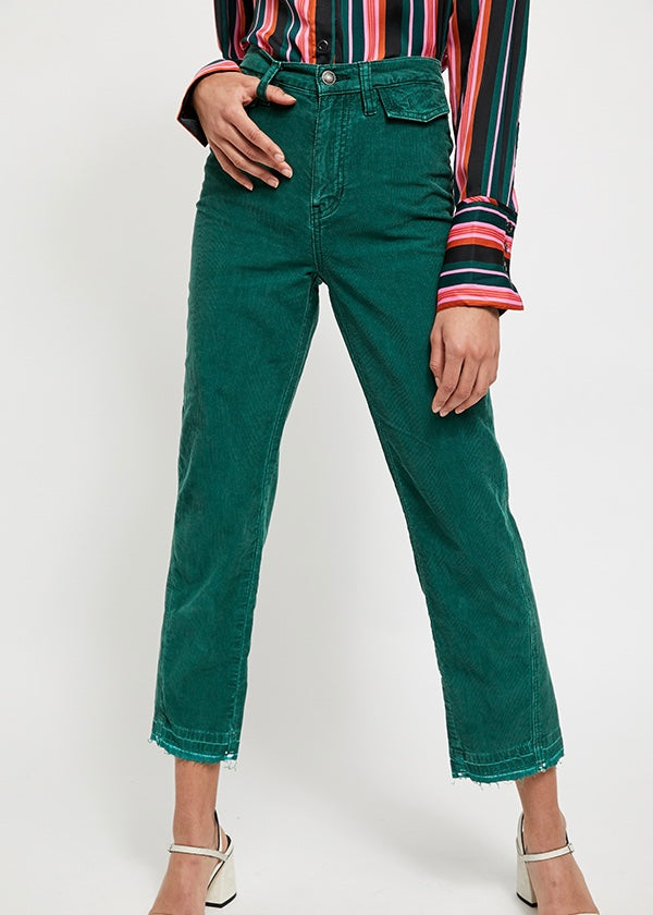 Green Cords, Straight leg cords, high rise pants, high rise corduroy's, free people denim, free people corduroy's, corduroy's, fall denim, denim, pants