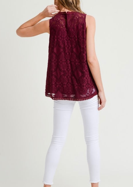 burgundy lace blouse, lace blouse, lace tank, fall tank, a&m gameday tops, a&m tank top, women's blouses, women's tank tops, fall tops