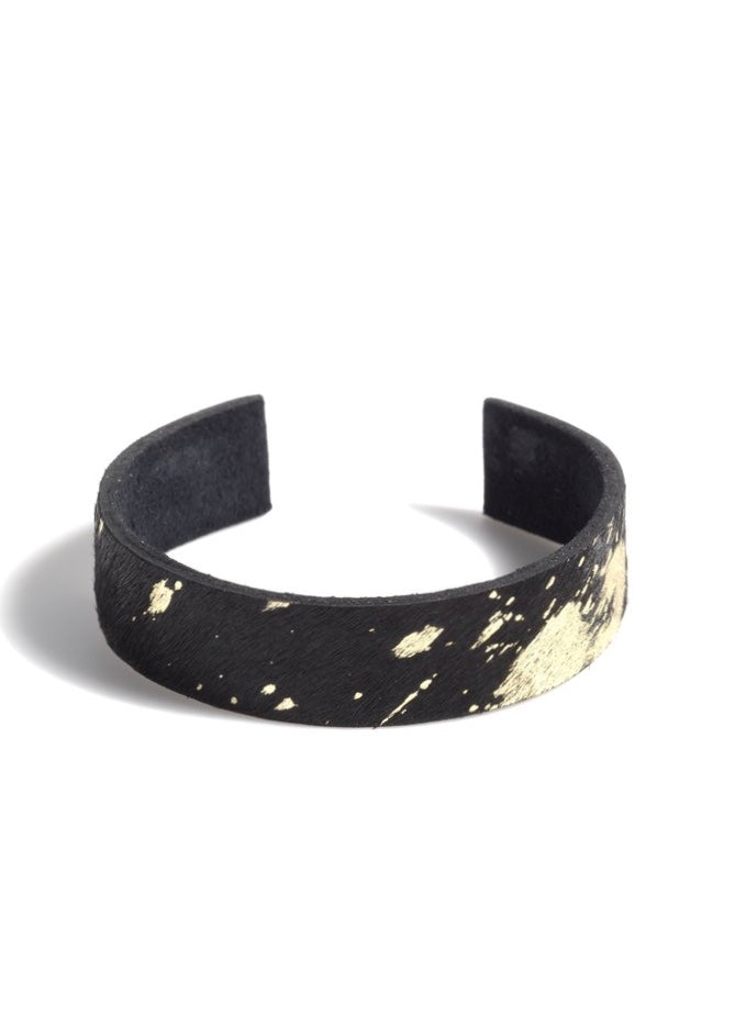 black and gold bracelet, black and gold cowhide bracelet, black and gold cuff bracelet, cowhide bracelet