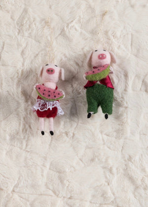Watermelon Pigs Ornaments