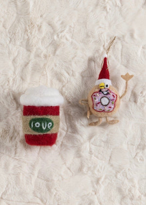 Coffee & Donut Ornaments (Set of 2)