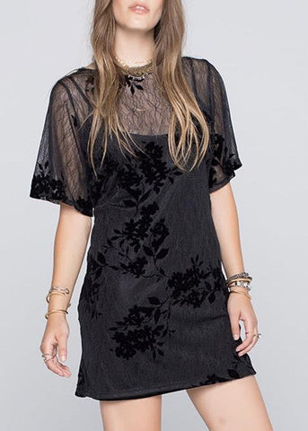 Flocked Lace Shift Dress