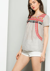 Farrow Embroidered Top