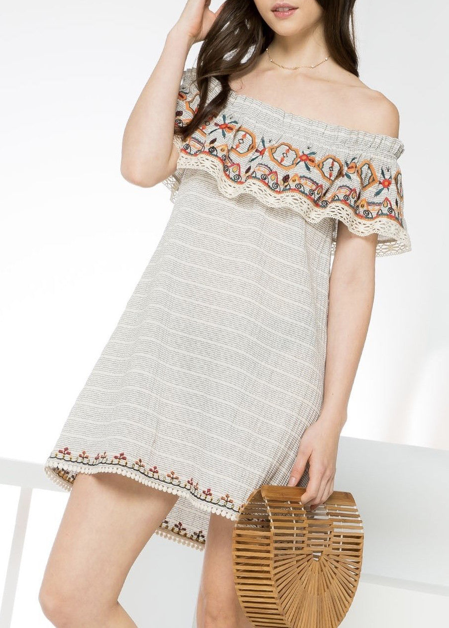 Bea Embroidered OTS Dress