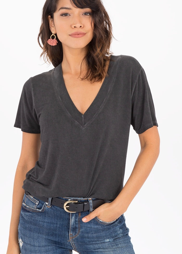 The Washed Deep V-Neck Tee