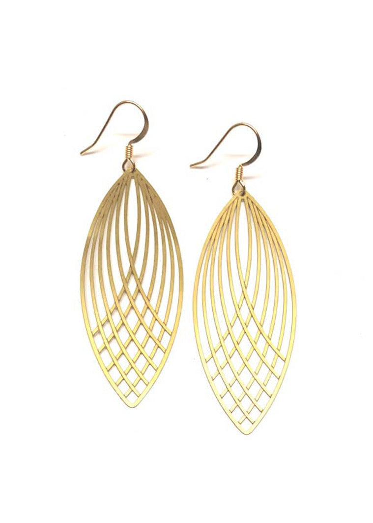 Golden Eclipse Feather Earring
