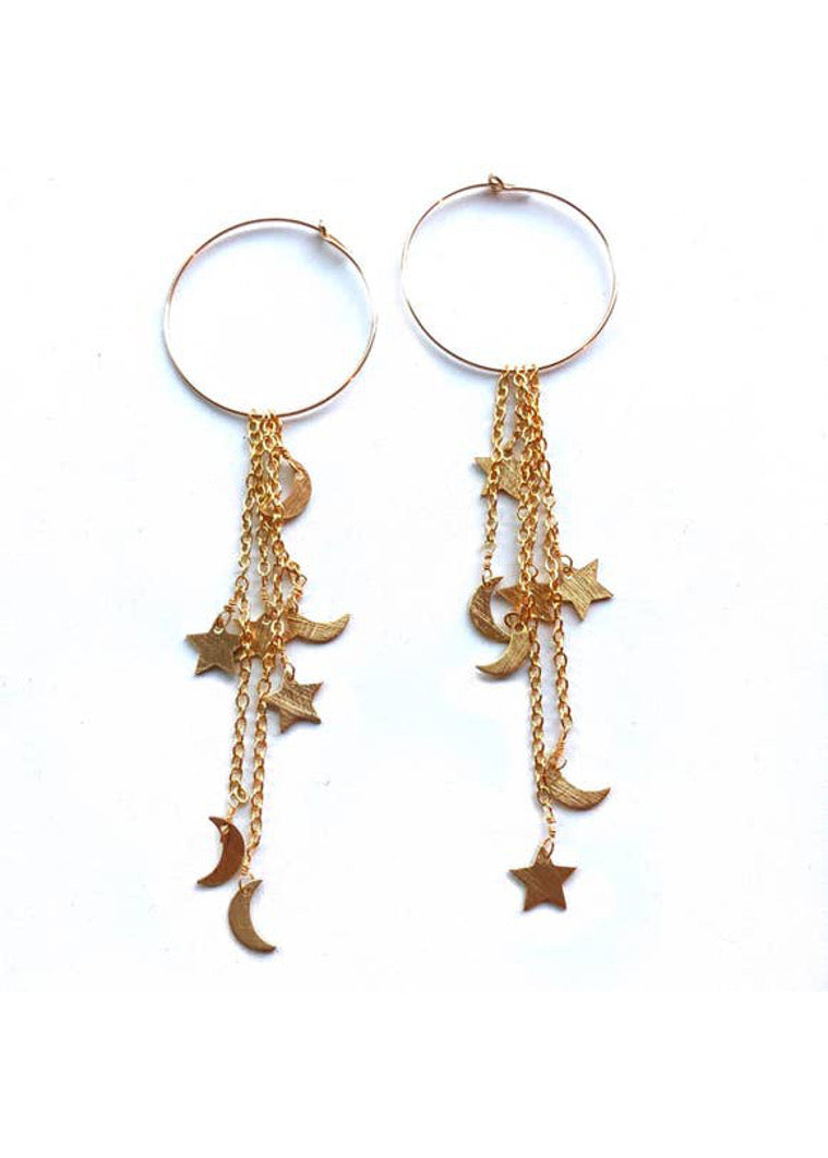 Moon + Star Tassel Earring