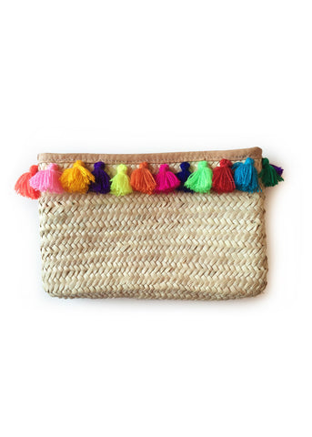 Multi Tassel Straw Clutch