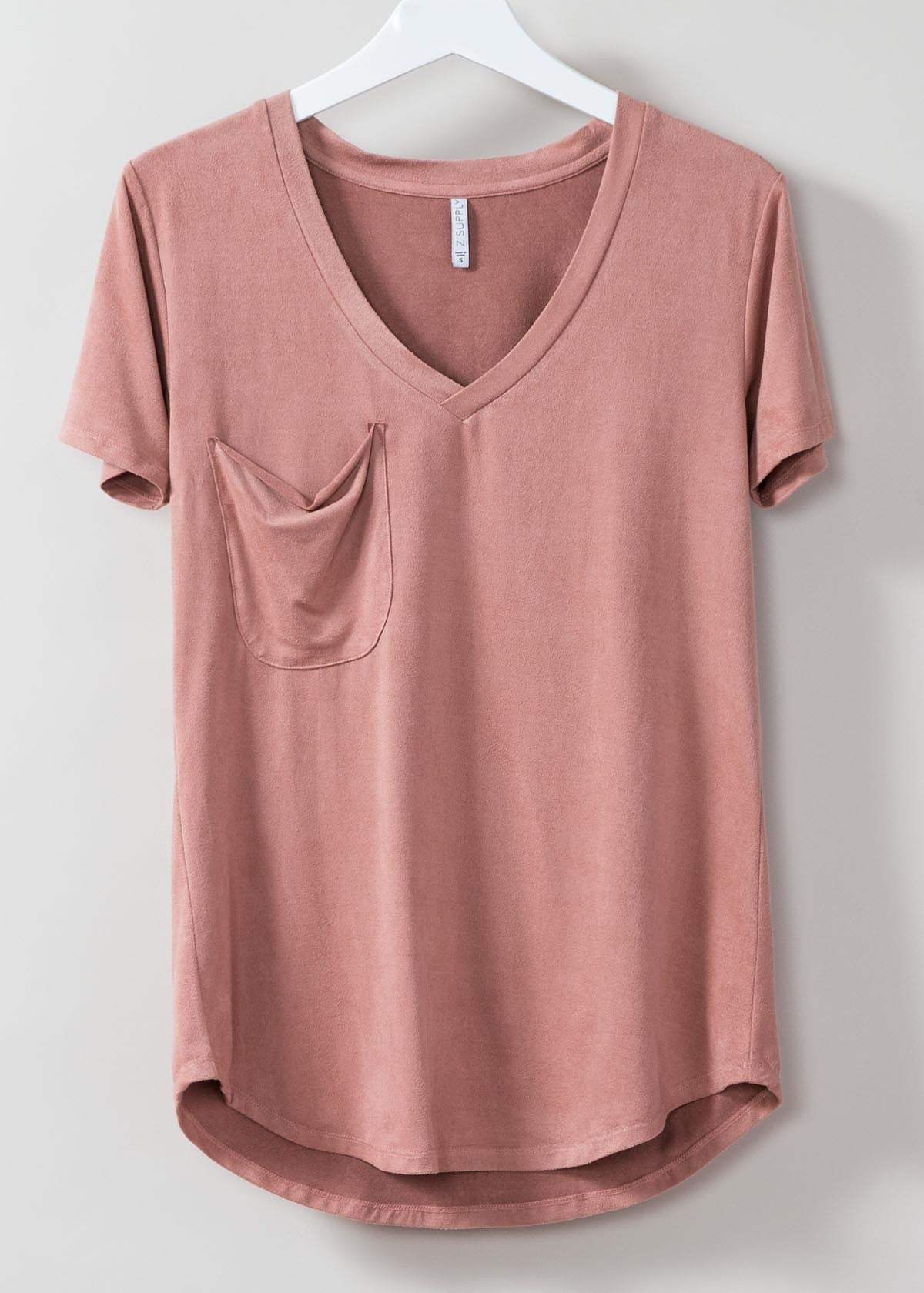 The Suede Pocket Tee - Blossom Rose