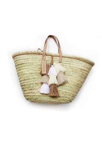 Tan Tassel Basket