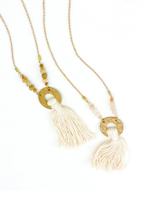 Hammered Metal Tassel Necklace