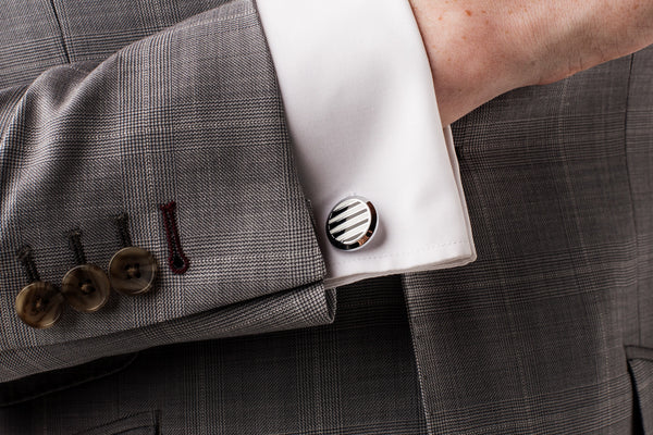 Black & White Stripe Cufflinks