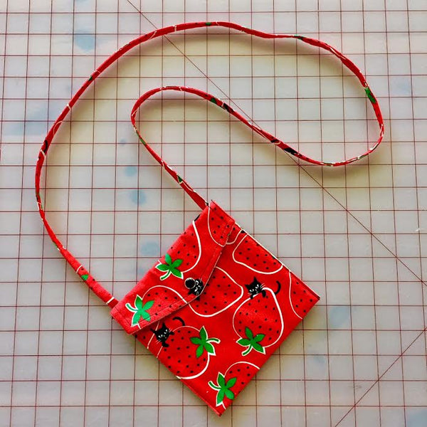 Strawberry Kitty in Red Pearl Snap Bag