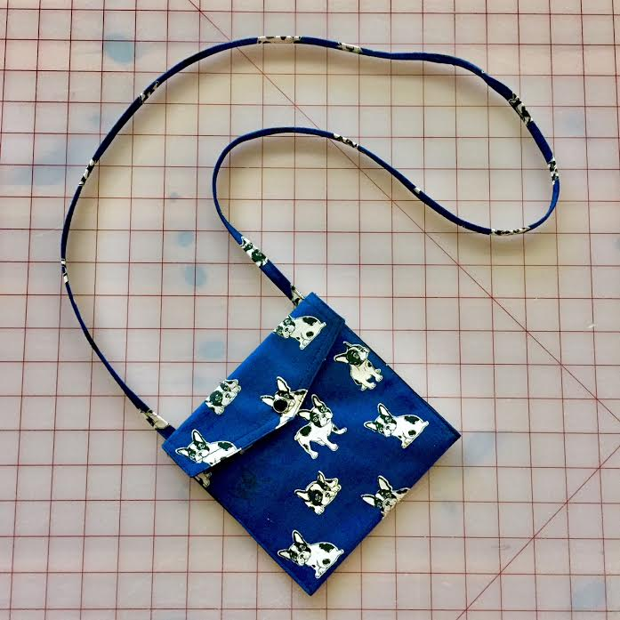 Frenchies in Blue Pearl Snap Bag