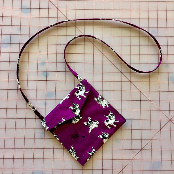 Frenchies in Purple Pearl Snap Bag