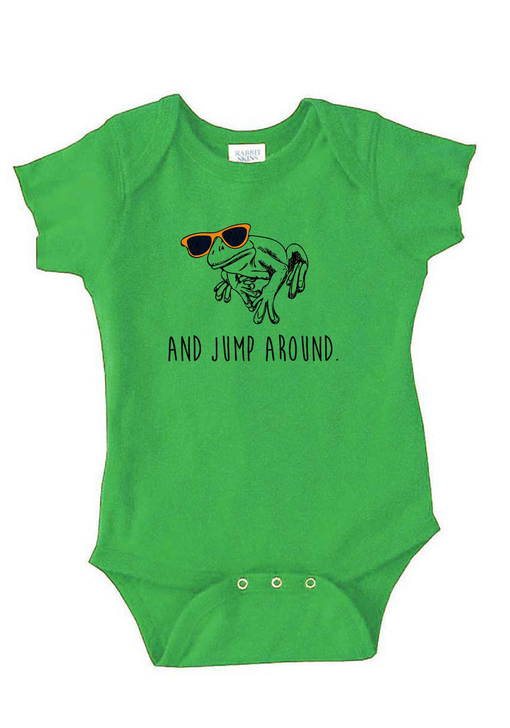 "Infant ""And Jump Around"" Frog Onesie"