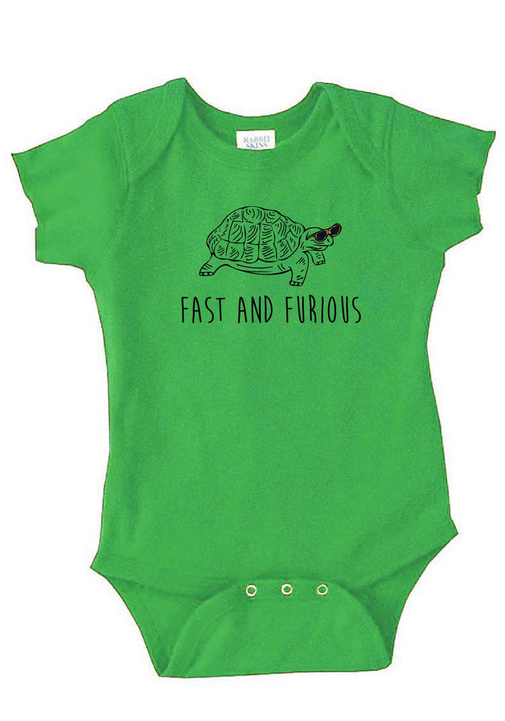 "Infant ""Fast And Furious"" Turtle Onesie"