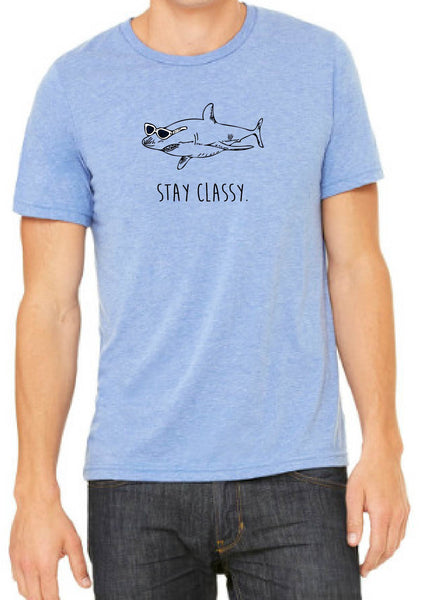 "Men's ""Stay Classy"" Shark Short Sleeve T-Shirt"