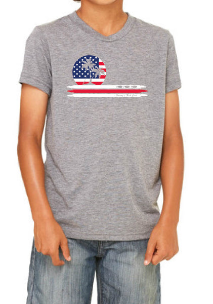 Youth American Flag Smitty's Fish Call Short Sleeve T-Shirt