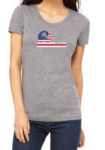 Women's American Flag Smitty's Fish Call Short Sleeve T-Shirts